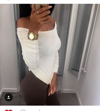 top off the shoulder white pants brown tights leggings