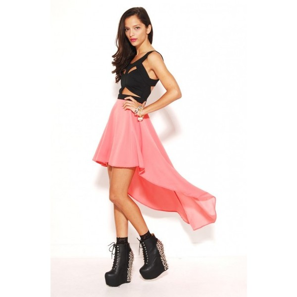 Reverse Cut Out Dress with Tail Back Skirt in Black/Coral - Polyvore