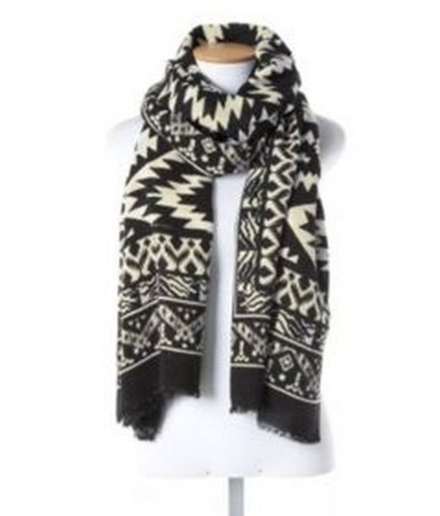 geometric black and white scarf