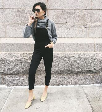 pants grey sweater nude shoes blogger black overalls sunglasses