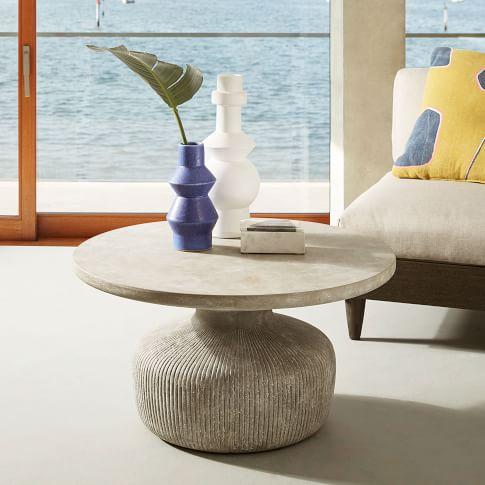 Concrete Outdoor Drum Coffee Table