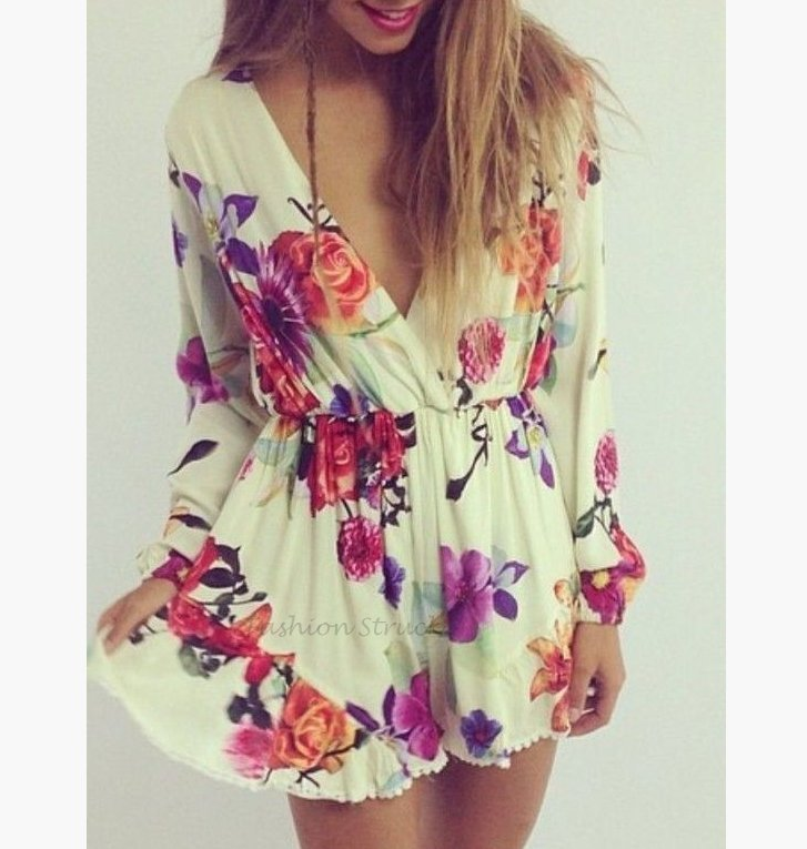 Floral long sleeve playsuit romper · fashion struck · online store powered by storenvy