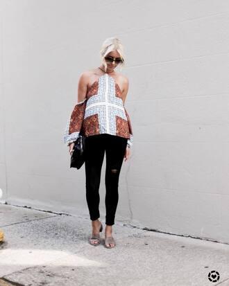 top tumblr halter top halter neck denim jeans black jeans sandals slide shoes mules bag sunglasses round sunglasses shoes