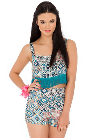 Aztec Print Short and Crop Top Combi