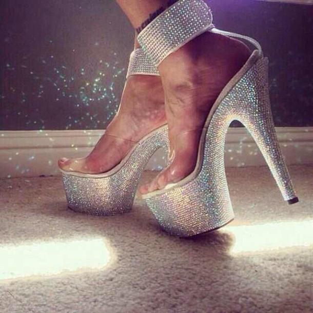 shoes diamond high heels