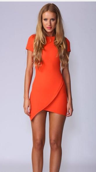 orange dress assymetrical bodycon dress