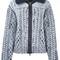 Maison margiela cable knit printed cardigan, women's, size: medium, blue, wool