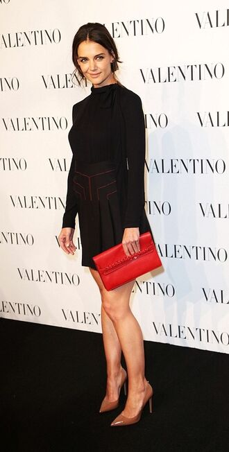 skirt mini skirt katie holmes black blouse top purse high heels shoes bag