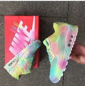 shoes,nike,air max,nike air max 90,pastel sneakers,sneakers,pastel nike,pastel neon,neon nike,sports shoes,pastel,neon,nikes,trainers,girly,love,multicolor,low top sneakers