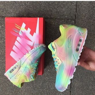 shoes nike air max nike air max 90 pastel sneakers sneakers pastel nike pastel neon neon nike sports shoes pastel neon nikes trainers girly love multicolor low top sneakers