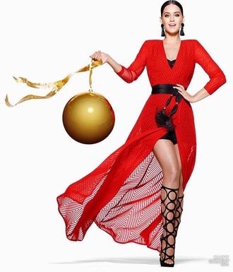 dress wrap dress red dress red katy perry sandal heels gladiators earrings h&m shoes jewels