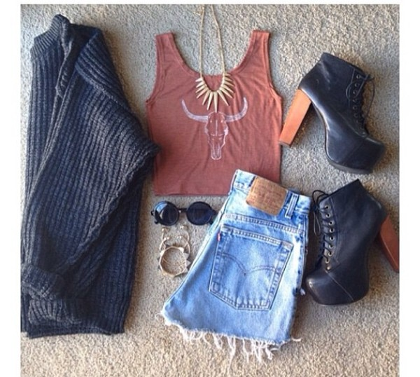 t-shirt shorts sweater shoes sunglasses tank top