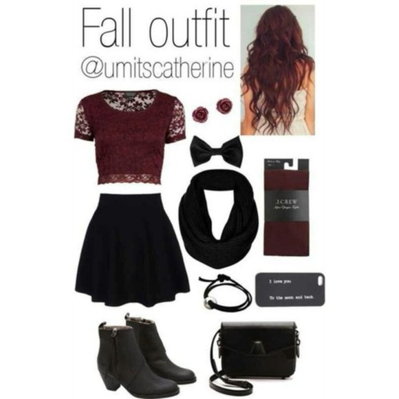 hair bow shoes skirt fall outfits phone case shirt girly tights scarf earrings purse