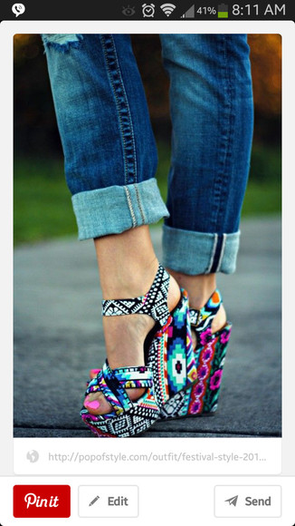 shoes aztec print wedges