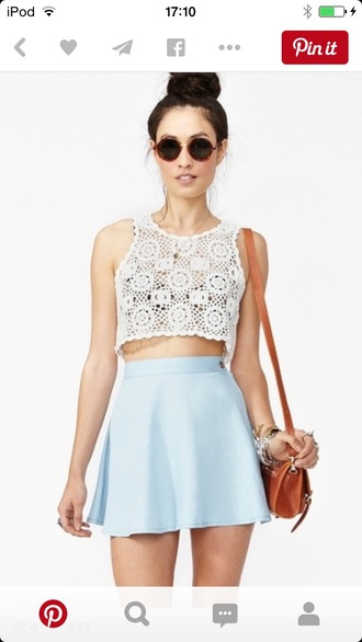 skirt bag top sunglasses jewels