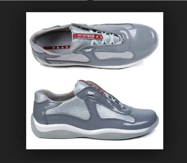 shoes grey and white prada shoes