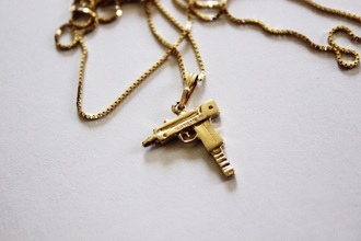 jewels necklace gold gold chain gun machine gun style tumblr tumblr outfit chain dope uzi