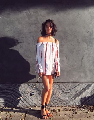 dress stripes striped dress sandals instagram off the shoulder mini dress tunic dress shanina shaik model