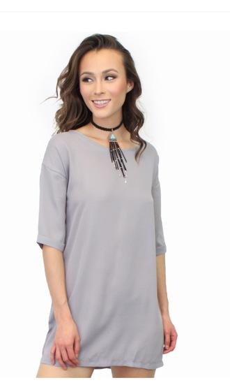 blouse tee dress t-shirt dress grey dress