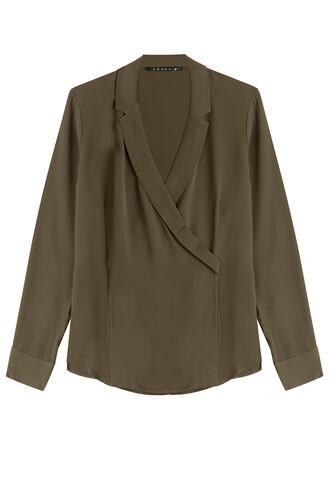 blouse draped silk green top