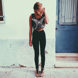 jeans black jeans ripped jeans crop tops black crop top cute top tumblr outfit tumblr shirt tumblr jeans