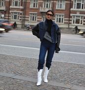 bag,black bag,crossbody bag,white boots,high heels boots,jeans,black turtleneck top,denim jacket