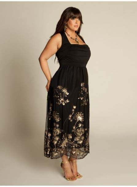 plus size dress, black and gold dress - Wheretoget