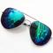 Blue lenses silver thin rim sunglasses - sheinside.com