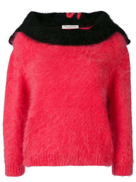 jumper women fluffy purple knit pink sweater