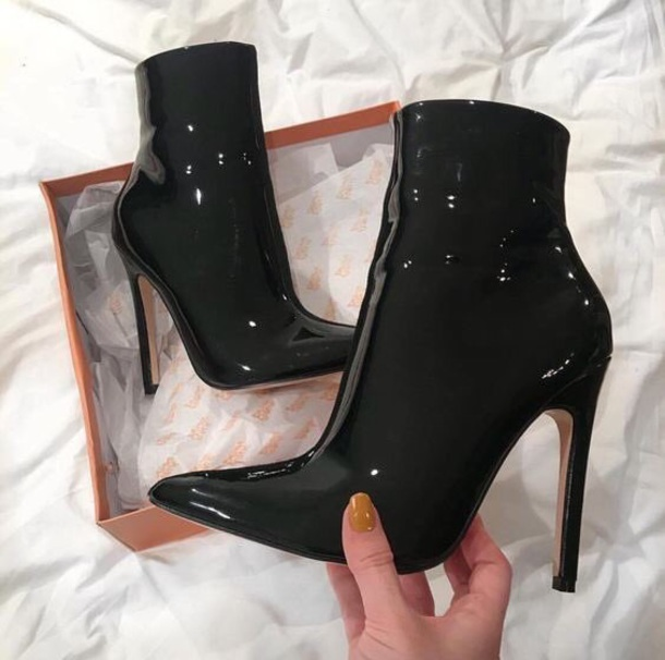 shoes black boots booties high heels heel boots shiny