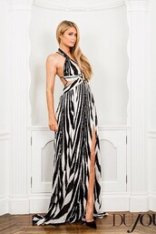 dress,gown,zebra,maxi dress,paris hilton,pumps,shoes