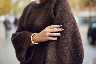 sweater knitwear knitted knit jumper knitted sweater brown bronze fluffy oversized sweater