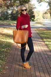 life with emily,blogger,jeans,bag,sunglasses,knitted sweater,red sweater,chelsea boots,red cable knit sweater,cable knit,brown bag,camel,ankle boots,turtleneck,turtleneck sweater