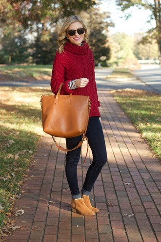 blogger sunglasses life with emily jeans bag knitted sweater red sweater chelsea boots