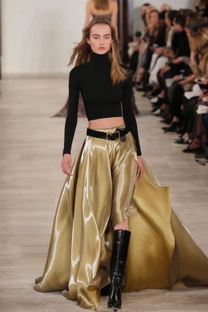 Skirt: gold, maxi skirt, slit skirt, top, turtleneck ...