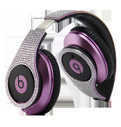 Beats by dre studio electroplating colorware chrome luxury full diamond dark purple limited edition headphone