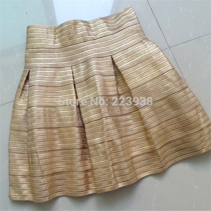 New 2014 Women skirts Fashion Brand Gold elastic stripes Short ...