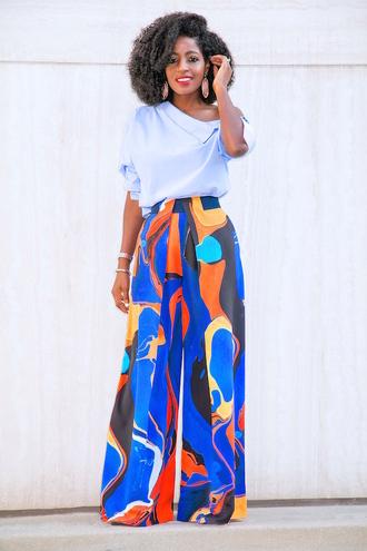 blogger shirt pants shoes printed pants top blue top