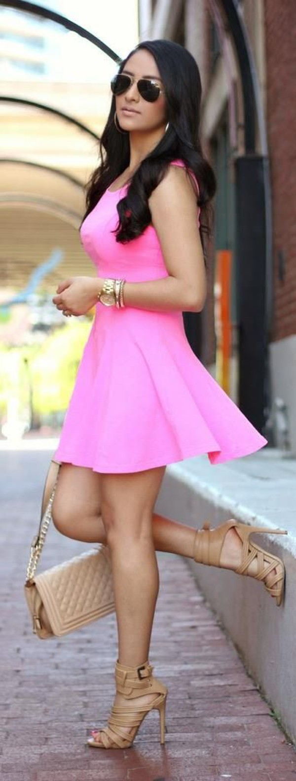 dress pink dress coat bag