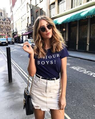 t-shirt tumblr quote on it blue top skirt mini skirt denim denim skirt sunglasses bag