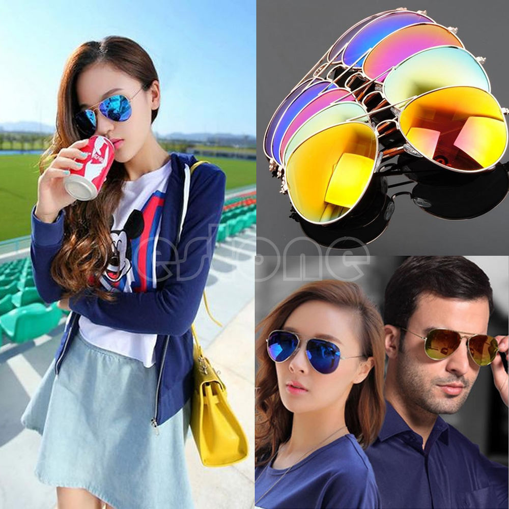Unisex Women Men Vintage Retro Fashion Aviator Mirror Lens Sunglasses Glasses | eBay