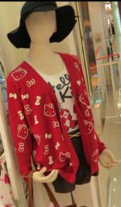sweater,hello kitty,cardigan,red