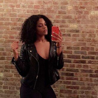 jacket chloe vero model curvy leather jacket black leather jacket black jacket top black top pink phone case
