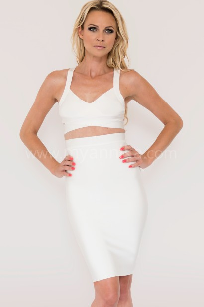 White 2 piece celebrity style bandage dress combo with pencil skirt and crop top annika