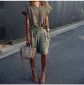 shorts,green,summer shorts,summer,militaire,sunglasses,dress,shoes,shirt,bag,linen shorts,khaki olive plane vintage shirt,celine