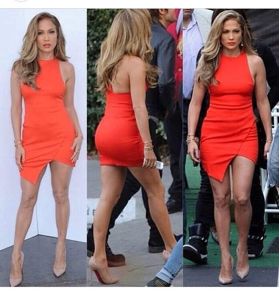 dress asymmetrical jennifer lopez clubwear red dress tight dress
