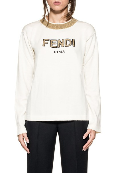 Fendi pullover gold wool white sweater