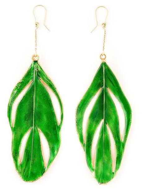 AURELIE BIDERMANN women earrings feather earrings gold green jewels