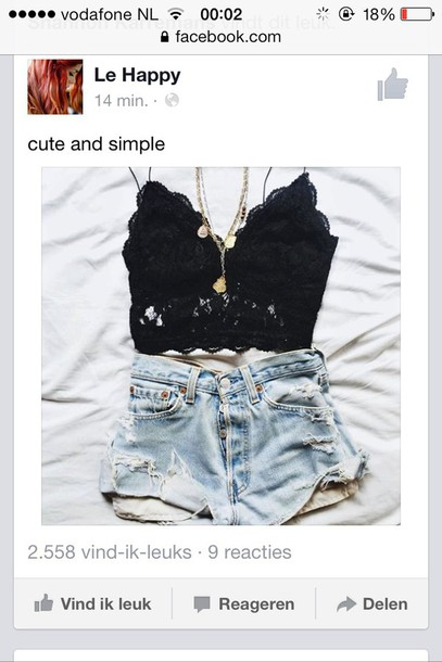 top bustier bralette black top crop tops lace top lace up necklace High waisted shorts shorts t-shirt