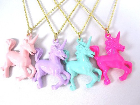 unicorn jewels necklace pink